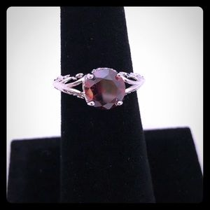 925 Sterling Silver Garnet And CZ Ring